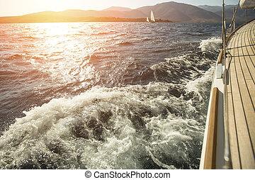yacht, mare, overboard, navigazione, regata, durante, sunset.