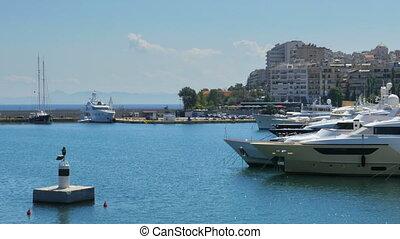 """""""yacht marina inside city, athens, greece, 4k"""""""
