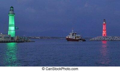 yacht-marina, phares, entrée, partir, vert, bateau, 4k, port, night., rouges