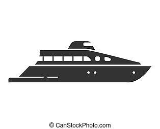 yacht., mer, vaisseau, nautique, illustration, ship., plat, vector., silhouette
