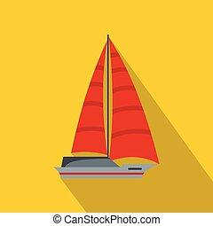 Yacht modern icon, flat style