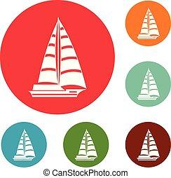 Yacht modern icons circle set vector