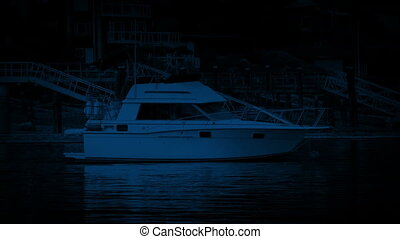 Yacht Moored In The Bay At Night - Typical yacht moored near...