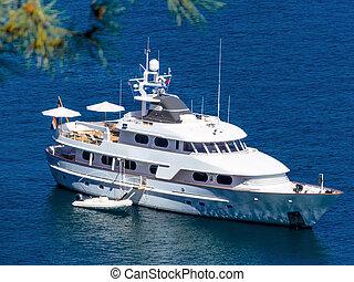 yacht, moteur, mer