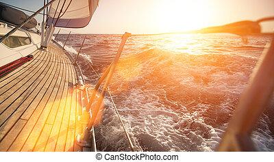 yacht, navigazione, durante, sunset.