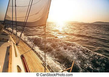 yacht, navigazione, durante, sunset., lusso, yachts.