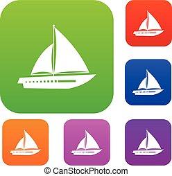 yacht navigazione, set, collezione
