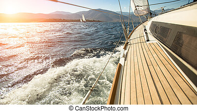 yacht, navigazione, verso, il, sunset., sailing., lusso, yachts.