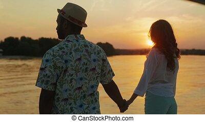 yacht., nouveaux mariés, délassant