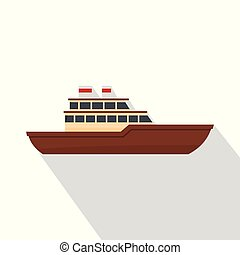 Yacht ocean icon, flat style
