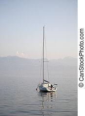 Yacht on Lake; Geneva; Lausanne; Switzerland