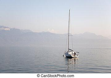 Yacht on Lake Geneva; Lausanne; Switzerland