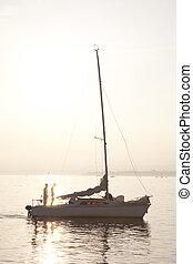 Yacht on Lake Geneva; Lausanne; Switzerland;