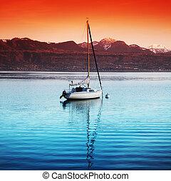 yacht on lake geneva
