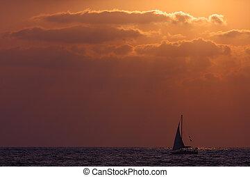 Yacht on Mediterranean Sea.