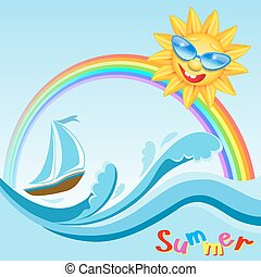 Yacht on sea waves with rainbow and smiling sun in glasses