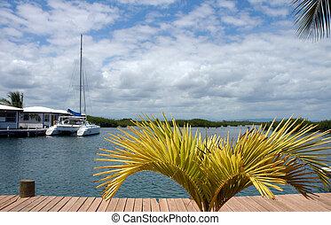 Yacht on the carribean sea