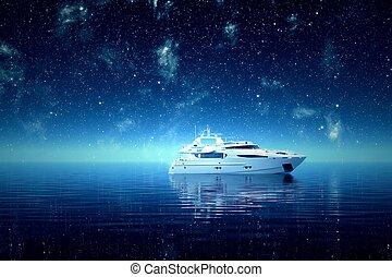 Luxurious yacht on a sea during a starry night.