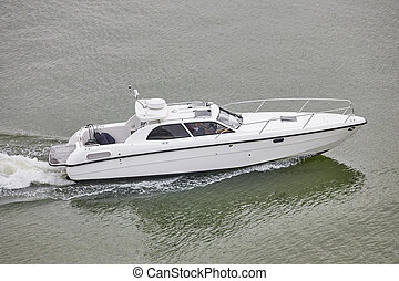 Yacht on the sea. Finland lakes. Recreational activity.