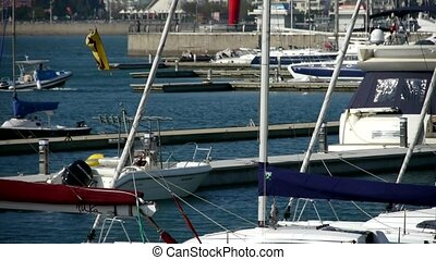 Yacht on the water at Pier of Qing Dao city Olympic Sailing Center, tsingtao, dam.
