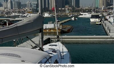 Yacht on the water at Pier of QingDao city Olympic Sailing...