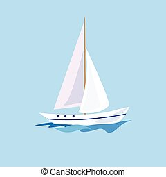 Yacht on the Water. Vector Illustration
