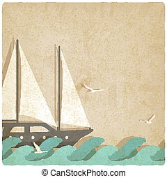 yacht on waves old background. vector illustration - eps 10