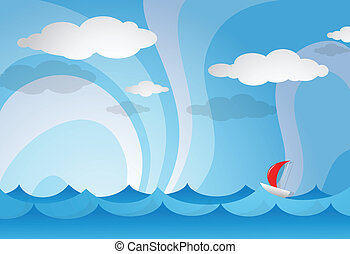 Yacht open sea - Vector illustration of sea view with yacht
