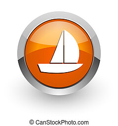 yacht orange glossy web icon