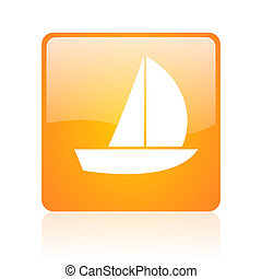yacht orange square glossy web icon