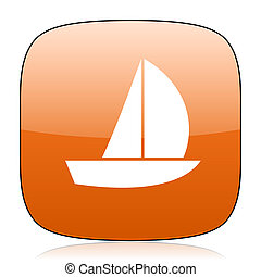 yacht orange square web design glossy icon