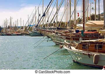 Yacht parking in harbor of the Aegean sea . Turkey Bodrum.