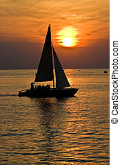 yacht - leisure series: yacht in the sea gulf in evening...