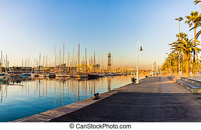 Yacht port in Barcelona at sunrise. Travel to Spain.