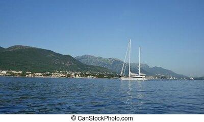 Yacht Porto Montenegro. Elite area of Tivat in Montenegro -...