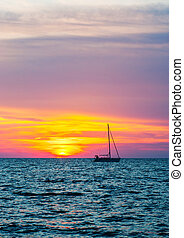 yacht, raggi, silhouette, tramonto, ultimo