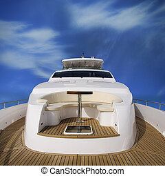 Yacht rear view - Rear view of the super yacht, with view of...