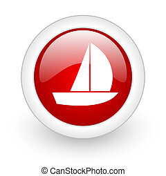 yacht red circle glossy web icon on white background