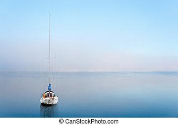 yacht, riflesso, calma, wate