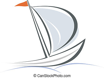 Sailing boat. White sailboat on the blue water. Yacht that sails on the waves. Stylized image of the floating boats with blue sails and red flag. Can be used as logotype of yacht club, marine club, hotel, etc.