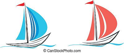 Yacht, sailboat - Sailing boat. White sailboat on the blue...