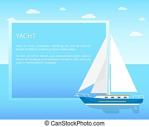 Yacht Sailboat with White Canvas on Water Surface