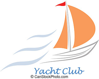 Yacht - sailing boat - Sailing boat. White sailboat on the...
