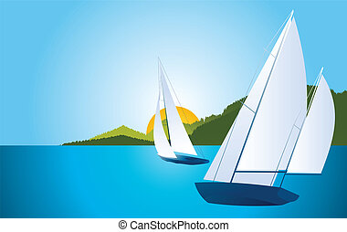 Yacht - sailing boat regatta vector