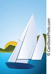 Yacht - sailing boat regatta vector