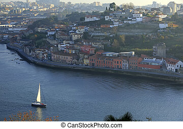 Yacht sailing Douro river in Porto