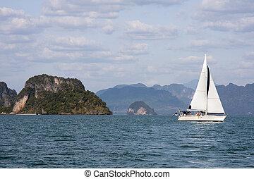 Yacht sailing in Phang Nga Bay