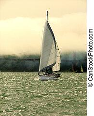 Yacht sailing in San Francisco Bay