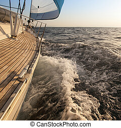 Yacht sailing. Luxury yacht.