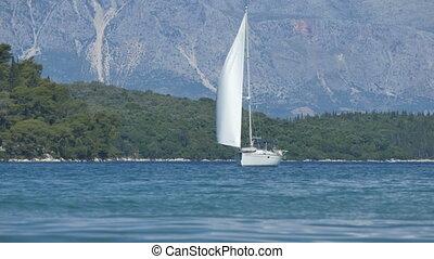 Yacht Sailing near Shores